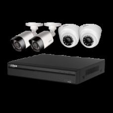 HDCVI комплект для видеонаблюдения на купольные(х2) и цилиндрические(х2) камеры 1080P